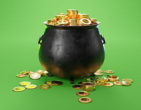 St Patricks Day Leprechaun Pot of Gold 3D