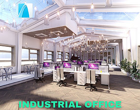 3D Industrial Office on Attic with Skylights Scene -