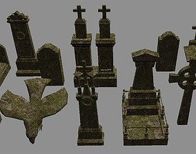 Cemetery Set Lowpoly - Game Ready 3D asset