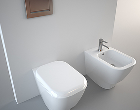 3D Pozzi Ginori Toilet and Bidet Q3 Standing