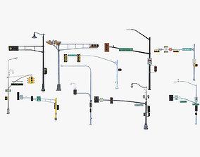 10 Street Light with Traffic 3D model