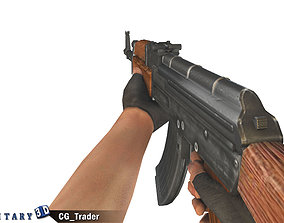 animated Animated Arm with AK47 Gun Lowpoly 3D Mode