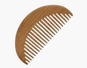 Wooden hair comb type 2 3D