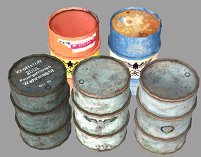 3D model Fuel Barrels German 50-gallon Drums