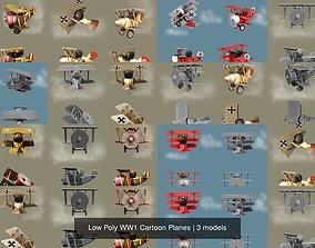 Low Poly WW1 Cartoon Planes 3D model