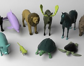 3D model 10 low poly colored animals pack