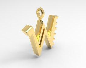 W Letter Pendant Gold 3D printable model