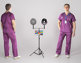 3D asset Adult surgeon with a stethoscope 81