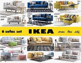 3D model Ikea 6 sofa set