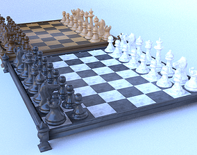 Chess set and two different level 3D asset