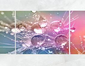 Triptych Wall Art Morning Dew Drops 3D asset