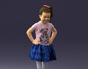 Little girl in pose 0032 3D Print Ready posed