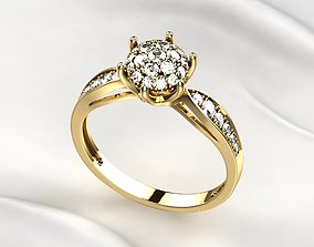 Gorgeous Golden Ring with Diamonds 3D print model
