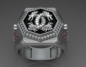 silver jewelry Dragon Ring 3D printable model