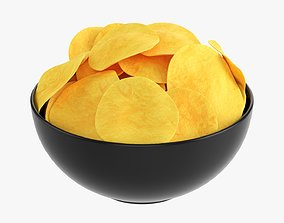 3D Potato chips in a bowl 02