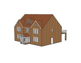 English country style detached house 3D model