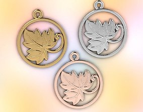 grape leaf and vine jewelry pendant 3D printable model