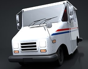 Mail Truck C4D Rigged 3D asset