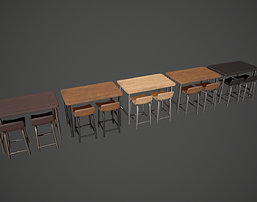 3D model Breakfast Bar - Texture Variations