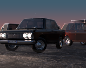 rigged car kit asset for real-time graphics