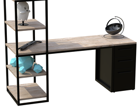 Low poly Study desk 3d model animated