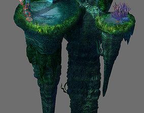 3D Game model - undersea - huge rock pillar