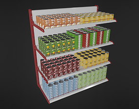 Food Shelf With Canned Foods 3D asset VR / AR ready