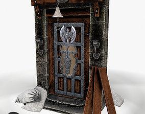 realtime Ancient wooden door 3d model