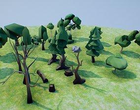 low poly vegetation set 03 3D