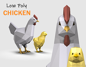 Low Poly Chicken 3D model animated