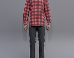 3D model Male outfit - checkered button up shirt and jeans