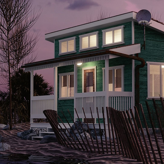 Beach House At Sunset