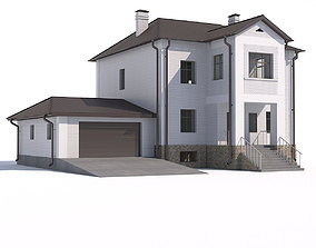 House with garage 3D house