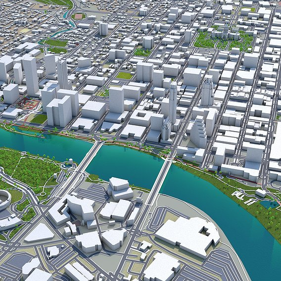 US 3d cities low poly