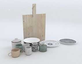 Ceramics set with chopping board 3D model