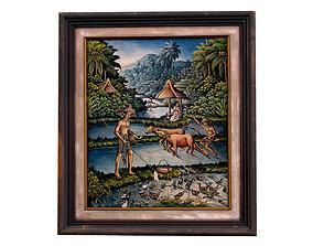 Balinese picture green frame rural landscape 3D model