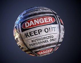 Danger Hazard Sign Keep Out Seamless PBR Texture 3D model