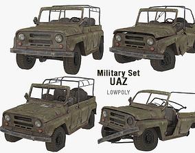 UAZ Military Set 3D model realtime