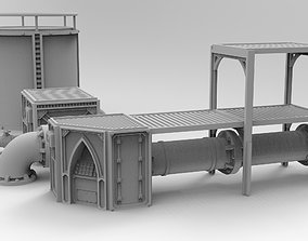 Modular pipeline terrain 3D printable model