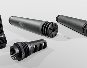 3D model SilencerCo Harvester 338 Suppressor and ASR 1