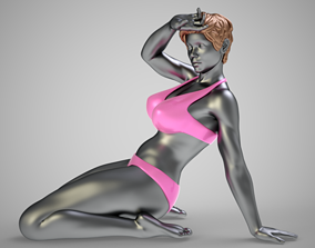 Woman Leaning Against 3D model