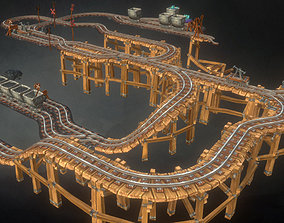 Rail Modular Set - Low Poly 3D model