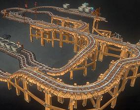 3D asset Low Poly Modular Rail Set