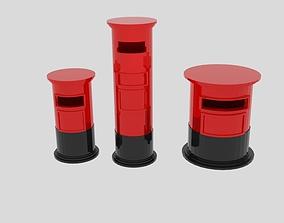 3D asset Cylinder Post Box Pack