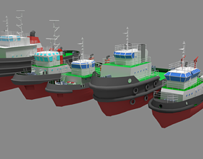 5 Model Tugboat Lowpoly realtime ocean
