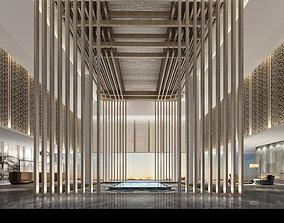 various interior hotel lobby 3D model