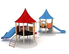 Hexagon Metal Kid Playground with Swings 3D model