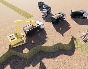 3D print model land leveling construction site
