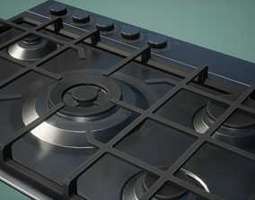 3D model Gas Stove Low Poly Game Ready