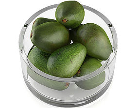 3D Bowl of avocado fruits
